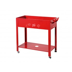 Mesa Metálica Trolley en Color Rojo
