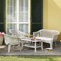Conjunto de resina en color blanco para Jardín