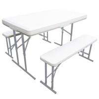 Conjunto Plegable de mesa y dos bancos para exterior